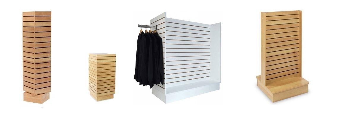 image de gondole en slatwall et panneaux rainurés couleur érable et blanc