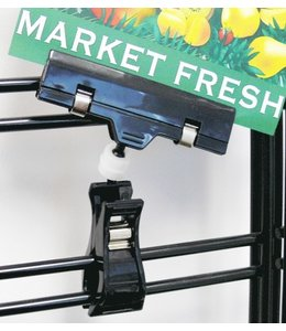 "Acrylic sign holder with spring clamp 4"" Black color"