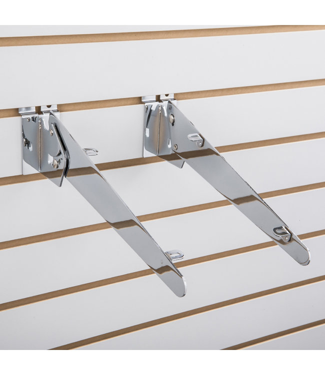 Adjustable wood shelf brackets for slatwall-chrome