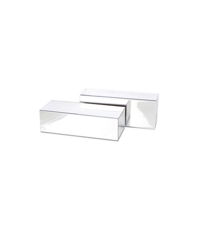 "Acrylic mirror podium for shoe shop 10""(L) x 4""(W) x 3""(H)"