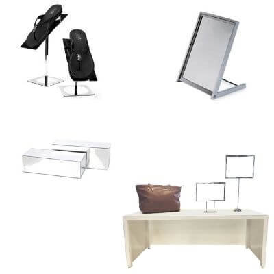 Display and accessories for shoe store
