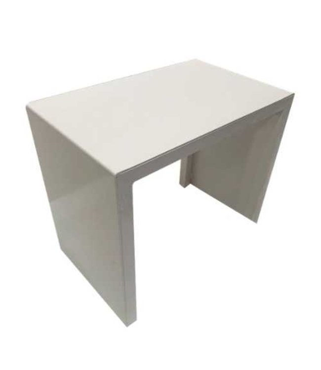 "White table and bench for shoe store  21"" X 13"" X 18.5""H"