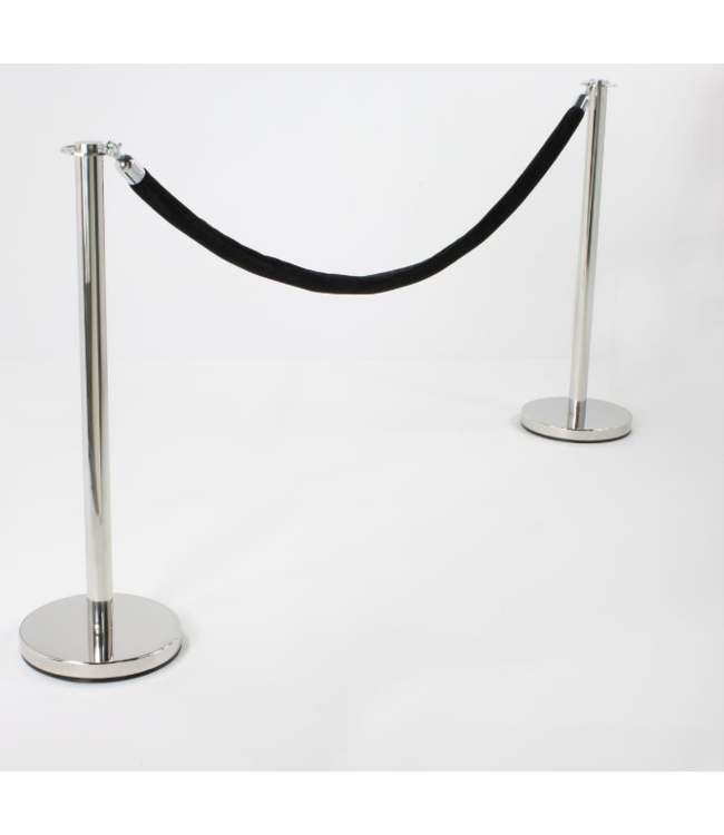 "Round Set of 2 chrome crowd control posts with 78"" Black velvet rope"
