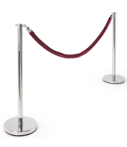 Round Set of 2 chrome posts with burgundy velvet rope