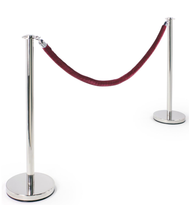 "Ensemble de 2 poteaux chrome + cable de velour 78"" bourgogne"