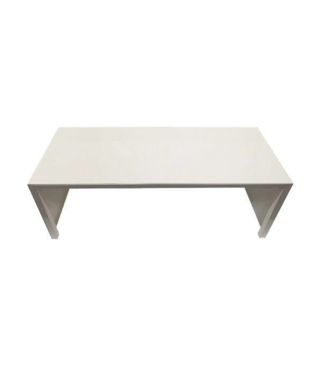"Table ou banc de métal blanc, 48"" X 18"" X 18.5""H"