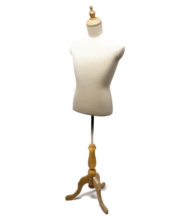 Buste homme court en tissus avec trépied en bois