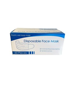 Masque de protection jetable, 3 plis bleu.