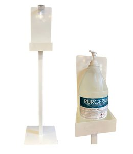 Standing hand disinfection station and  antibacterial gel 70% alcohol