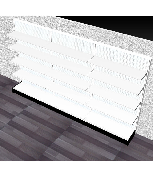 "Single-sided shelving units | gondola Display - 84""H x 144""W x 16"" base"