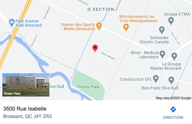 photo de la carte routière pour se rendre au 3500 rue Isabelle, Brossard