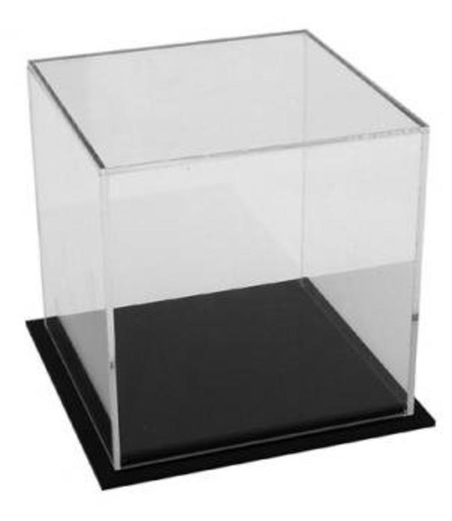 Boîte 5 faces en acrylique 5'' x 5'' x 5''H avec base noire