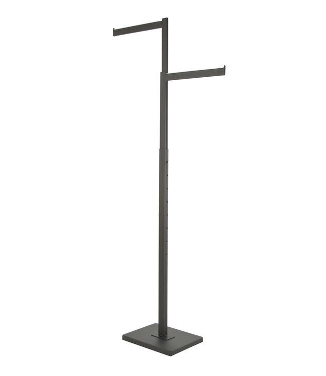 Black 2 Way rack with straight arms, rectangular tubing