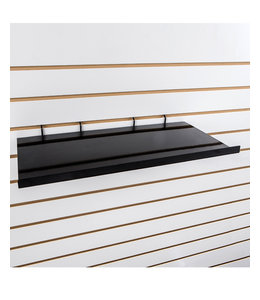 "24 ""x 12"" straight metal shelf for slatwall, black or white"