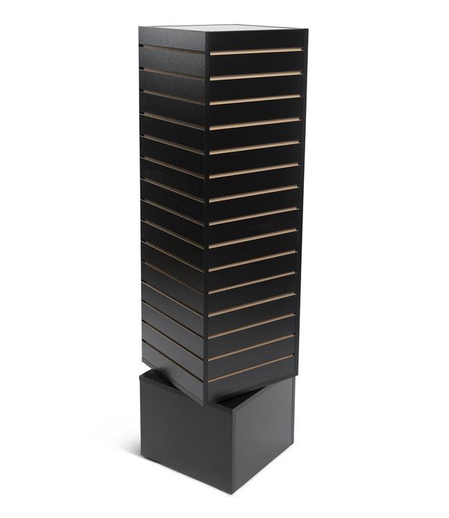Revolving slatwall tower 12''x 12''x 54''H black, white or maple