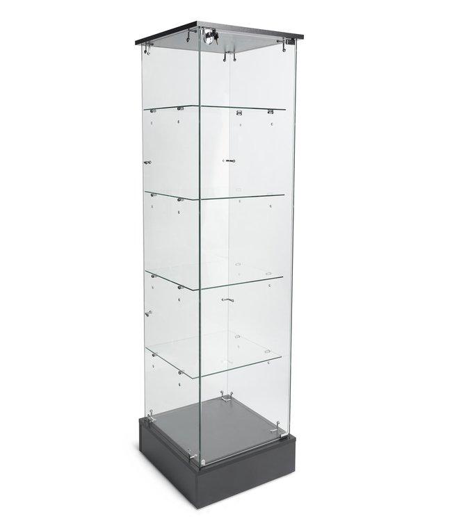"Economical frameless glass tower display-20"" x 20"" x 72"" H"