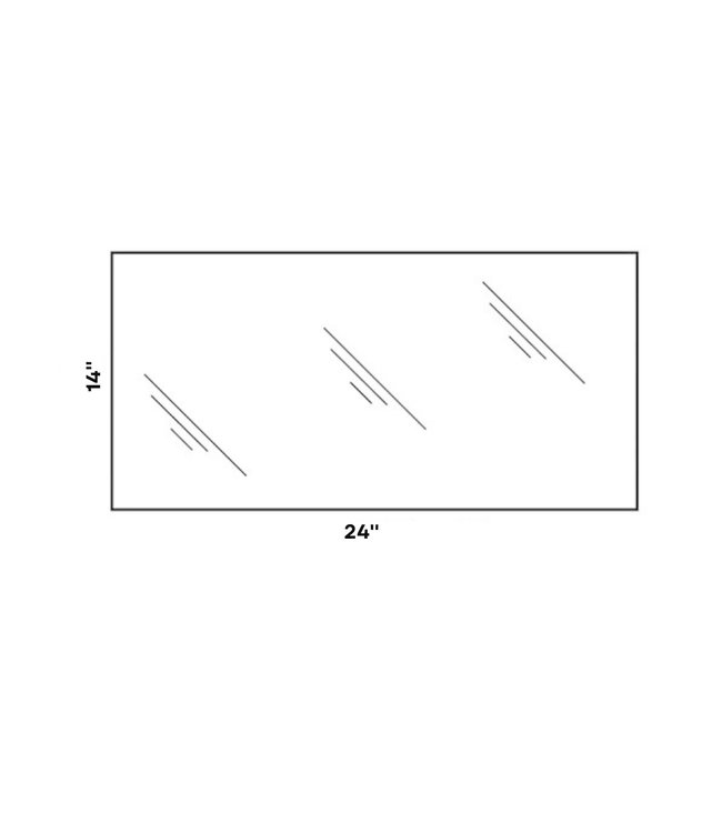 "14"" X 24"", 5mm tempered shelf glass"