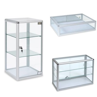 Counter top glass and acrylic displays