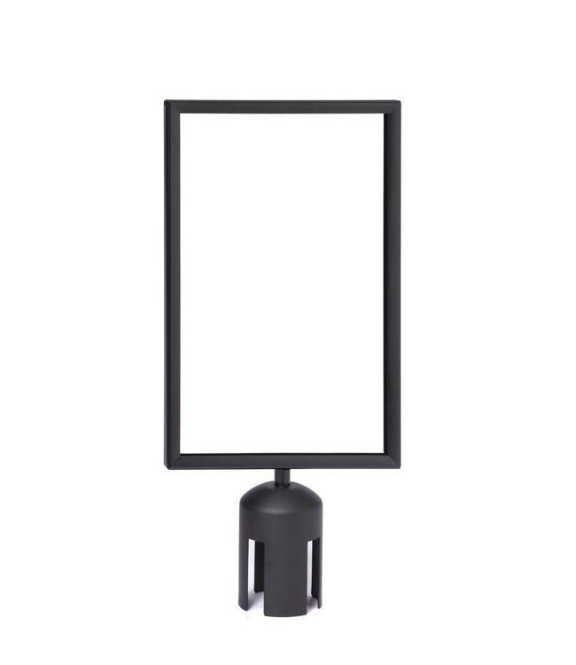 """Porte affiche 8.5"""" x 11""""H noir mat pour poteau à ruban rétractable"""