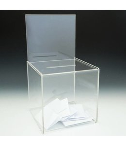 "Ballot box 8""x 8""x 8"" with sign holder 8""x 7""H"