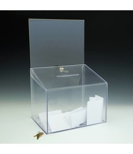 "Ballot box 11.5"" x 8.5"" x 18""H  with sign holder 11""x 8.5""H"