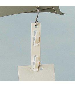 """Merchandising plastic hook, 12 clips, white, 29-3/16"""""""