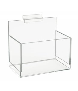 "Acrylic bin 4-1/2"" x 4-1/2"" for slatwall 8""/12""/18""/24""wide"