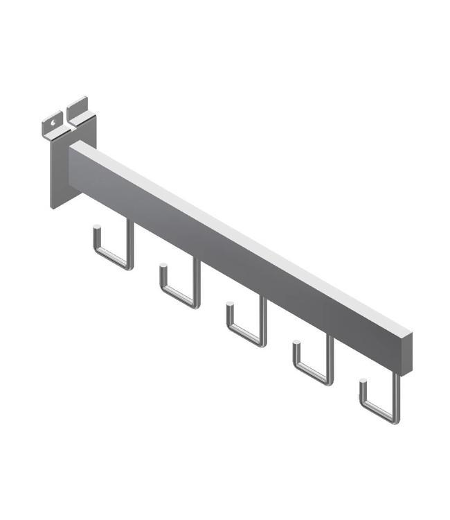"Bras droit 16'' avec 5 crochets pour Slatwall, tube 1/2'' x 11/2"""