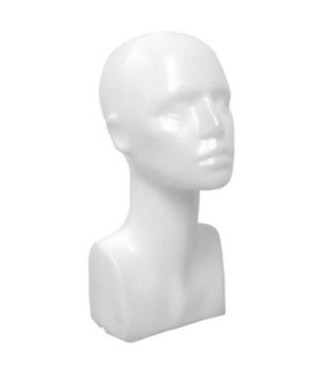 "Female's head with neck & shoulder 15""H, matte white plastic"
