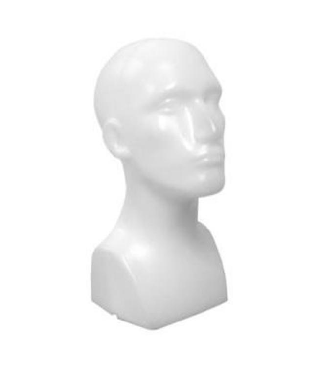"Male's head with neck & shoulder 15""H, matte white plastic"