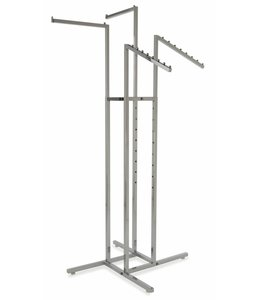 4 way rack 2 straight arms & 2 waterfall square tubing chrome
