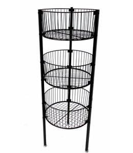 "3 levels basket 17"" diametre, 46""H choice of 4 colors"