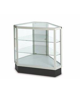 Full vision hexagonal glass counter aluminum