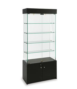 "30"" x 14"" x 72"" H Wall or central display case with storage"