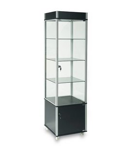 "20"" x 20"" x 76""H tower display with storage and casters"