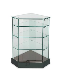 Frameless corner display showcase