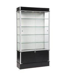 "42"" x 16"" x 78""H wall display case with storage with 3 lights"
