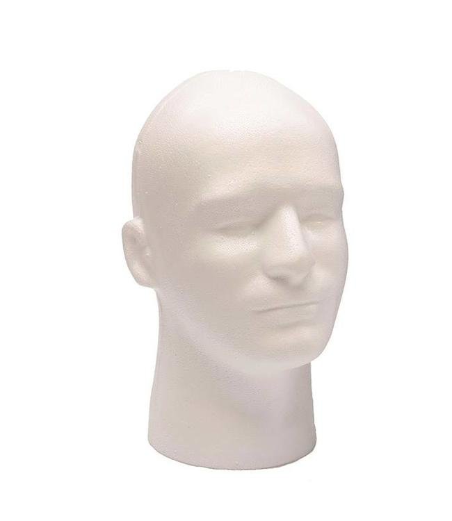 Man's head with neck, 12''H white styrofoam
