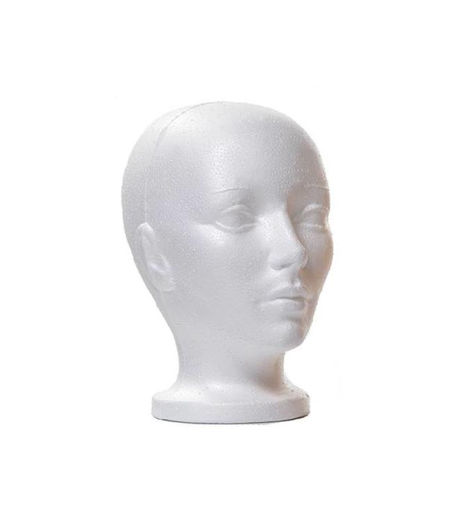 "Woman's head with neck 10""H, white styrofoam"