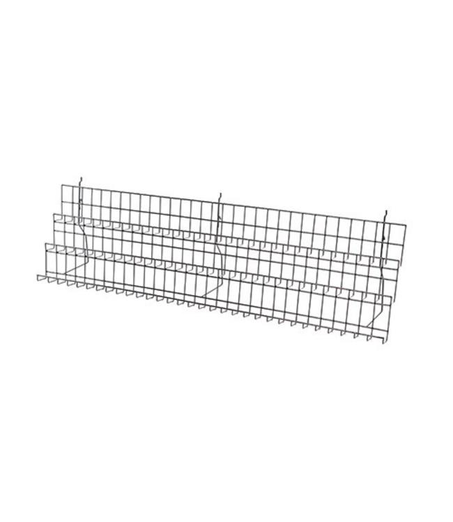 3 levels display for grid and slatwall 47'' x 8½'' x 13'', black