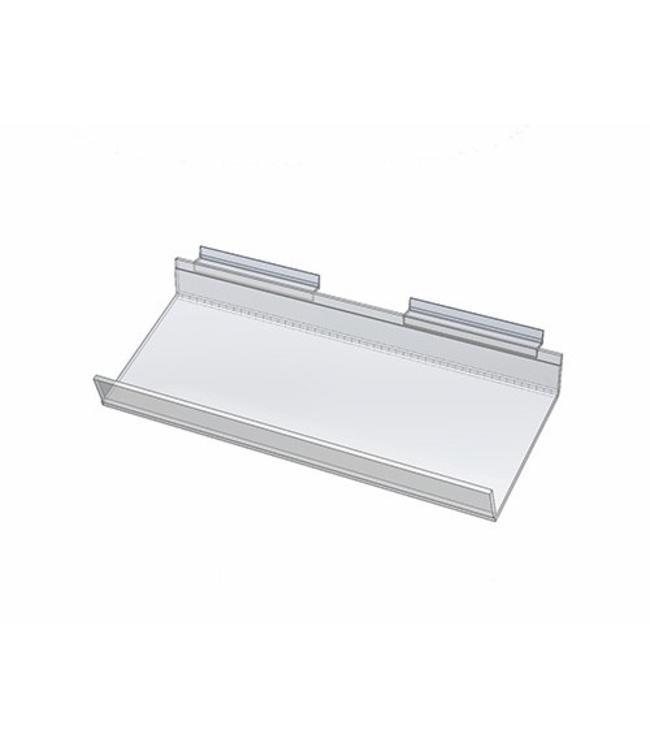 Tablette en acrylique inclinée pour panneau rainuré