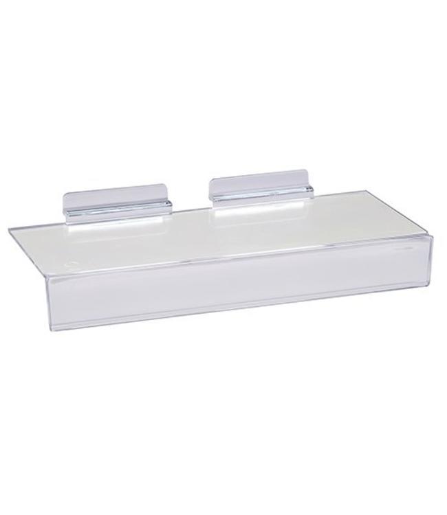 Slatwall acrylic straight shelf 10'' x 4'' with price lip