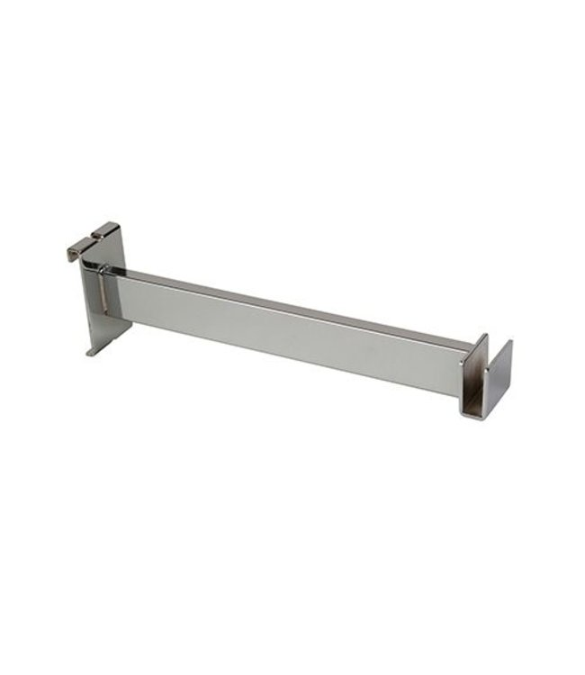 "12"" hangrail bracket for rectangular tubing 1/2"" x 1-1/2"", chrome"