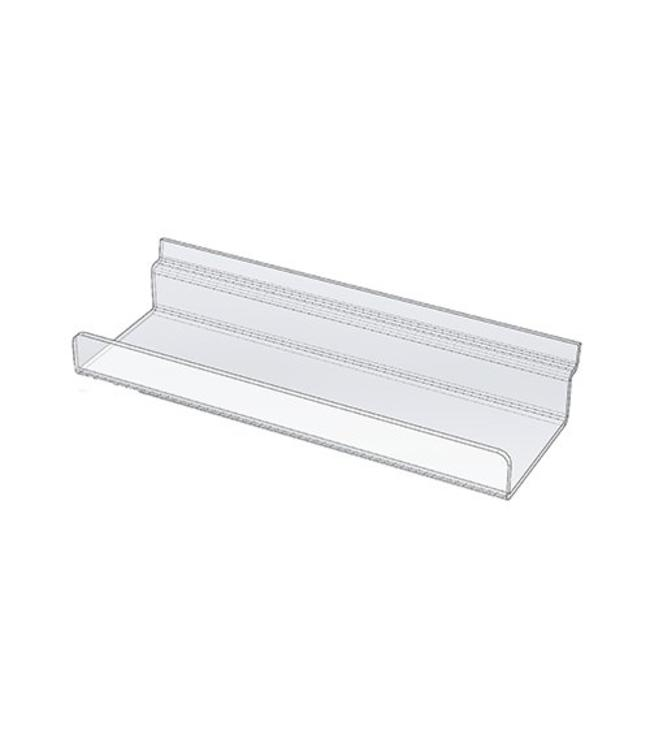 Slatwall acrylic shelf with lip
