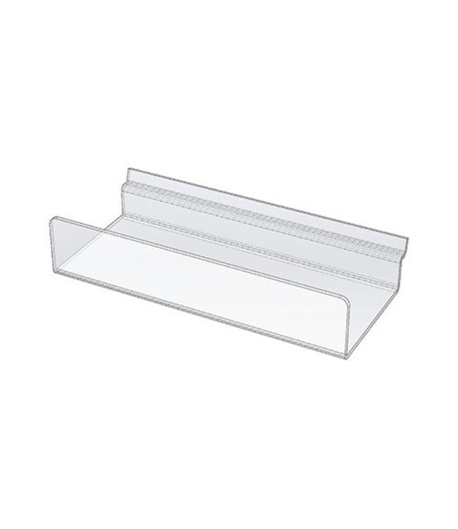"""Shelf acrylic 10'' x 4'' with 2"""" lip for slatwall"""