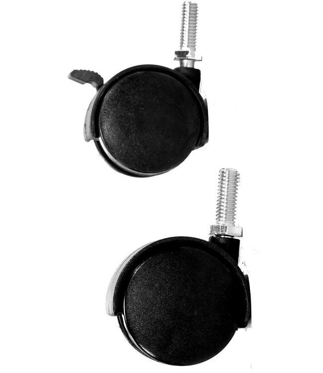"""Roulette double en plastique 2"""" de diamètre, tige filetée 1"""""""