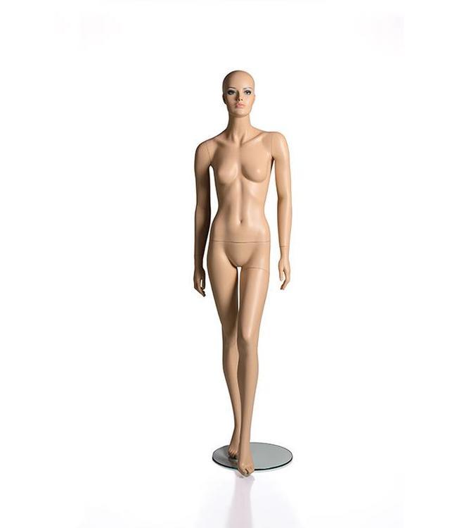 Mannequin femme avec visage, sans cheveu, peau, fibre de verre