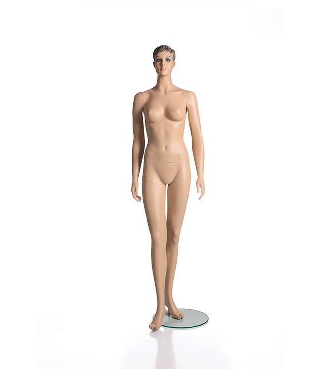 Female mannequin with face and molded hair, fleshtone fiberglass