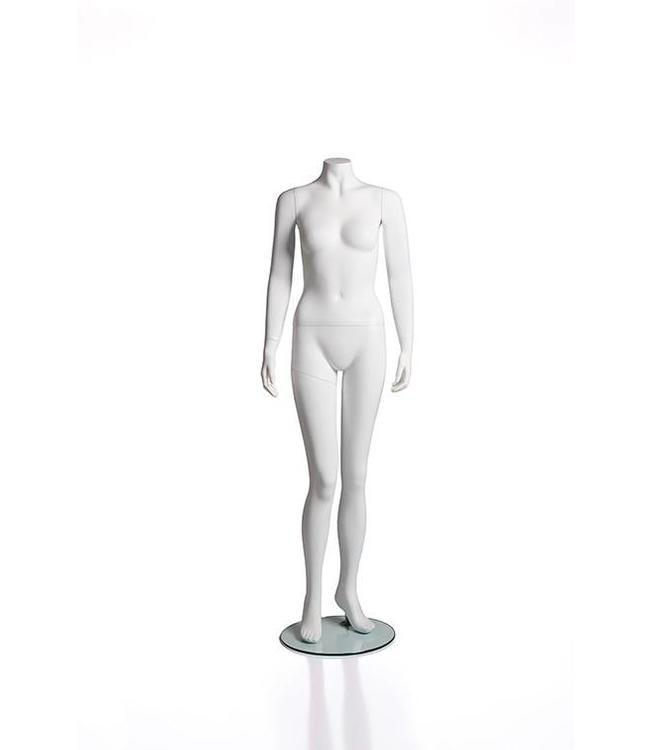 Female headless mannequin matte white fiberglass