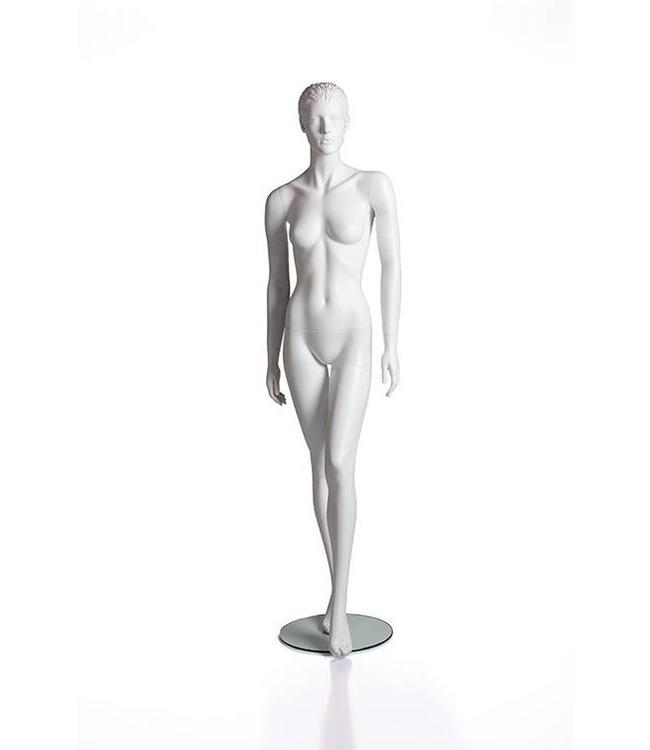 Mannequin femme avec visage et cheveux moulés, blanc mat, fibre de verre